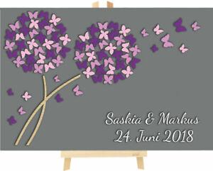 3D Pusteblume aus Holz zur Hochzeit personalisiert mit Schmetterlinge