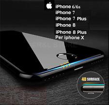 PELLICOLA VETRO TEMPERATO CURVO Protezione Totale per iPhone X 6 6s 7 8 / PLUS