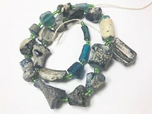 Genuine Ancient Multicolored Roman Glass Fragment beads 1000-1500 years old R512