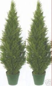"2 TOPIARY 48"" OUTDOOR UV RATED PLANT ARTIFICIAL BUSH CYPRESS TREE CEDAR PINE 4'"