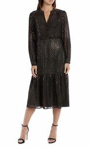 WAYNE COOPER Lurex Frill Spot Frill Dress Black & Gold sz 14 NWT Rrp $229.95