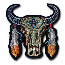 Indian Buffalo Head Dream Catcher Navajo Feather Patch Harley Biker Motorcycle