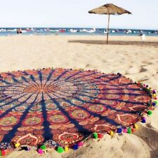 Mandala Round PomPom Yoga Indian Cotton Mat Throw WallHanging Beach Tapestry""