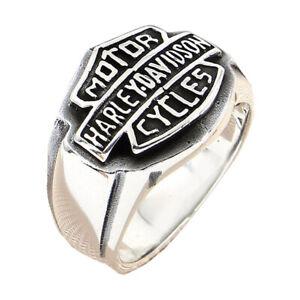 Mens Harley Davidson 925 Sterling Silver Biker Ring Handmade Men Turkish Jewelry