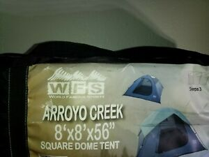 """WFS WORLD FAMOUS SPORTS ARROYO CREEK 8'x8'x56"""" SQUARE DOME TENT SLPS 3 BRAND NEW"""