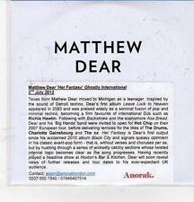 (CZ92) Matthew Dear, Her Fantasy - 2012 DJ CD