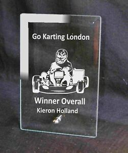 Engraved Glass Karting Plaque Motor Sport Trophy Award