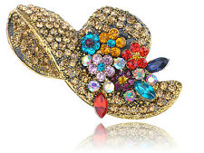 Beach Summer Sun Straw Hat Lady Flower Crystal Fashion Brooch Pin Bag Cilp Gift