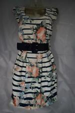 Ladies Dorothy Perkins Stripes & Roses Cap Sleeve Short Dress UK 10 BNWT Lot D5