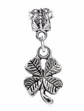 Lucky Four 4 Leaf Clover Good Luck Gift Dangle Charm for European Bead Bracelets