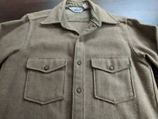 Woolrich Mens Vintage 60's 70's Shirt Jacket Heavy Wool Blend Beige Tan M
