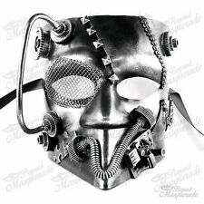 Steampunk Bauta Full Face Halloween Costume Masquerade Mask for Men - Silver