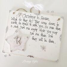Christmas In Heaven Angel Plaque Keepsake Bereavement Gift Handmade Decoration