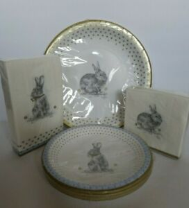 SPODE Meadow Lane Paper Plate and Napkin Set 104 Pieces Bunny Rabbit Woodlands