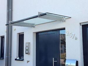 """Edelstahl Glas Vordach """"San Diego""""mit integrierte Regenrinne VSG-TVG Glas"""