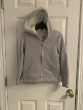 Girls Children's Place Gray Knit Front Zip Jacket With Hood-Size 7-8