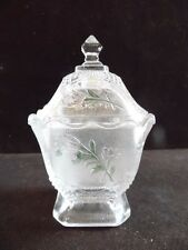 Vintage Clear Imperial Glass Pink Rose Pattern Square Footed Candy Bowl With Lid