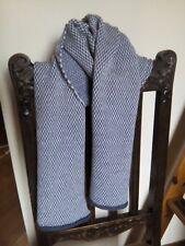 Sciarpa Uomo Donna in lana,  azzurro denim e bianco