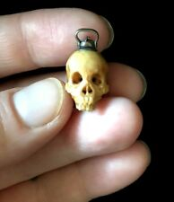 Antique Edwardian Carved Human Skull Swivel Hook Memento Mori Fob Charm Pendant