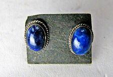 Vintage Handmade Sterling Silver Blue Lapis Stud Earrings Southwestern Pierced