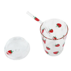 Cup High Borosilicate Glass Water Glass Cup Coffee Drinking Water With Straw Lid