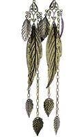 Vintage retro style massive 17cm long leaf chandelier earrings