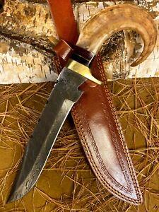 LOUIS MARTIN RARE CUSTOM HANDMADE DAMASCUS ART HUNTING BOWIE KNIFE RAM'S HORN