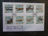 2017 ISLE OF MAN 100yrs RAF  SET OF 8 STAMPS FDC FIRST DAY COVER