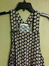 Nordstroms LUSH Girl Black Romper CASUAL White Daisies S SMALL 100% Rayon