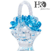 Crystal Roses Figurines Cut Glass Flower Basket Collectible Ornament Table Decor