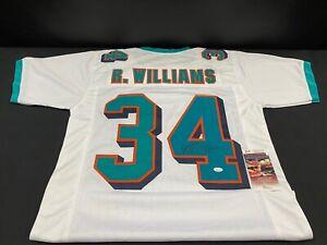 RICKY WILLIAMS MIAMI DOLPHINS SIGNED CUSTOM WHITE JERSEY JSA WITNESS COA