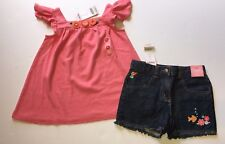 NWT Gymboree Tropical Garden Sz 6 Denim Fish Shorts & Crochet Flower Swing Top