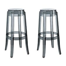 2 X Charles Style Ghost Bar Stool in Smoke Finish