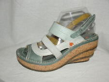 The ART Company Women's Sz 6.5/37 Blue Leather Suede Cork Stacked Wedge Sandals