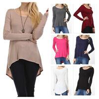Women's Casual Scoop Neck Long Sleeve Hi-Low Hem Top Tunic Casual Knit T-Shirts