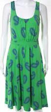 BODEN* Green/ Blue Paisley Print Jersey Casual Tea Day Dress, Size 10 Regular