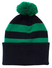 Black and Green Traditional Style Bobble Hat - Made in the UK