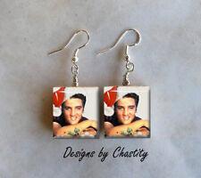 Elvis Presley Earrings Santa Hat Christmas Charms VTG Holiday Art Music Fans