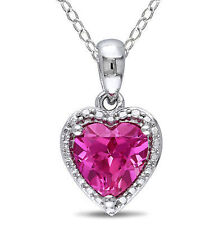"""Sterling Silver 1 1/2 Ct Pink Sapphire Heart Love Fashion Pendant Necklace 17"""""""