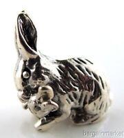 Sterling Silver Miniature Rabbit Bunny w/ Carrot Figurine #97