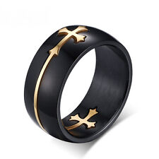 Gold/Silver Separable Cross Titanium Band Ring Stainless Steel Mens Jesus Sz7-14