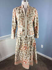 Coldwater Creek Skirt Suit Embroidered M 8 10 P Brown Excellent career Cocktail