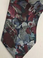 """Vintage Oscar de la Renta Men's Necktie Multi-Color Floral 4"""" Tie USA Made"""