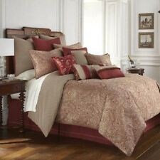 Waterford Linens Cavanaugh Queen Size Comforter Set Red Paisley Luxury Style