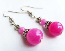 Tibetan Silver natural Pink jade Earrings Xmas Valentine Birthday Gift