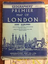 Vintage C1950s PREMIER MAP OF LONDON & SUBURBS Large 34x45 Inch COLORFUL Foldout