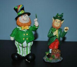 "NEW S/2 St Patrick's Day IRISH Figurine Leprechaun 6.8"" Gnome w/Lucky 6"" 2003"
