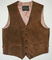 Vtg Norm Thompson Portland Suede Leather Cowboy Western Vest 40 Ms EUC Made USA