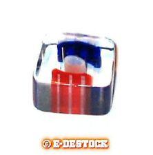 10 Perles forme carré verre pop bleu blanc rouge 6x10mm