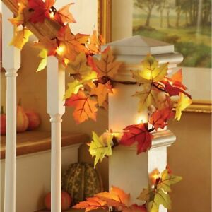 9 Foot Lighted Colorful Fall Thanksgiving Canadian Maple Leaves Garland